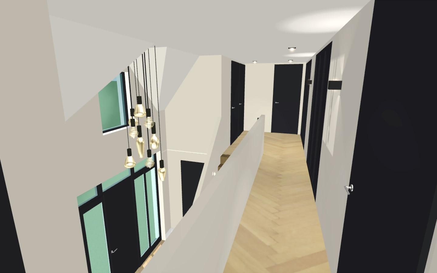 Interieurontwerp overloop luxe villa Wierden 1