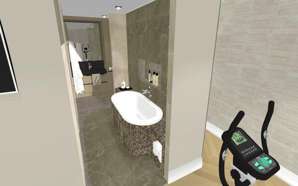 Interieurontwerp badkamer villa Wierden