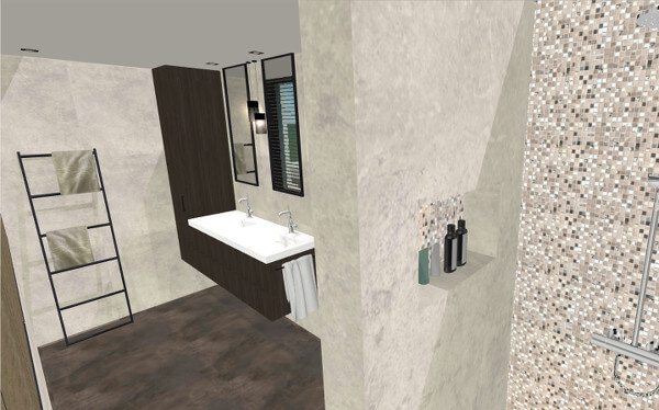 Interieurontwerp gasten badkamer villa Wierden