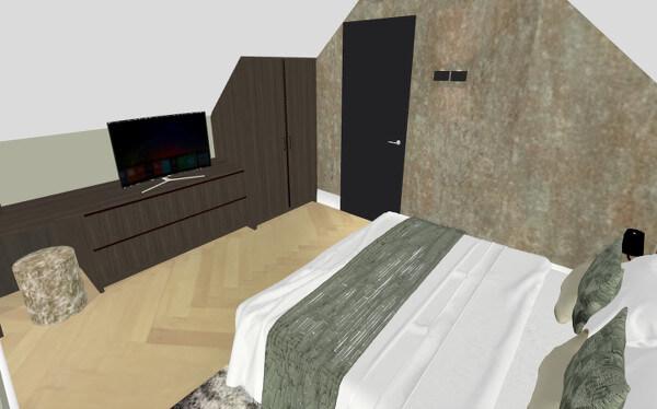Interieurontwerp logeerkamer villa Wierden