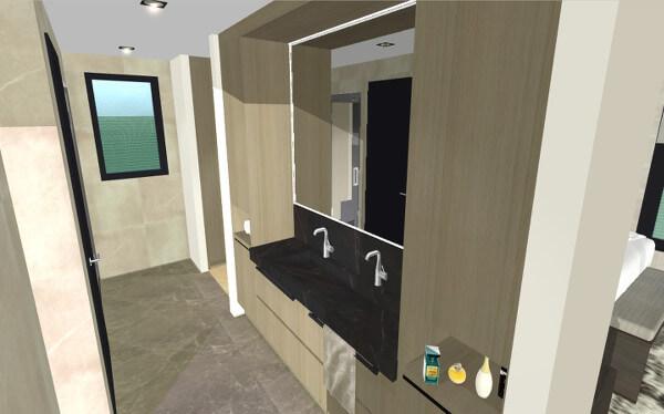 Interieurontwerp luxe badkamer villa Wierden