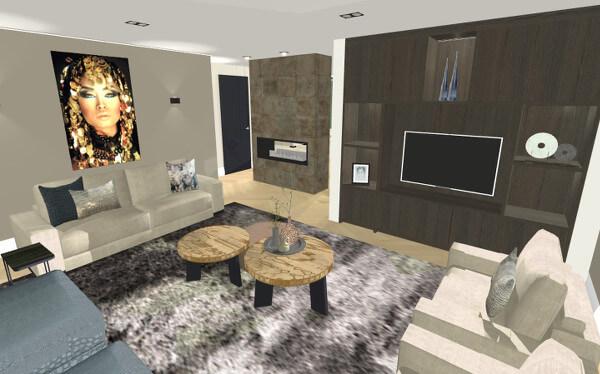 Interieurontwerp woonkamer villa Wierden