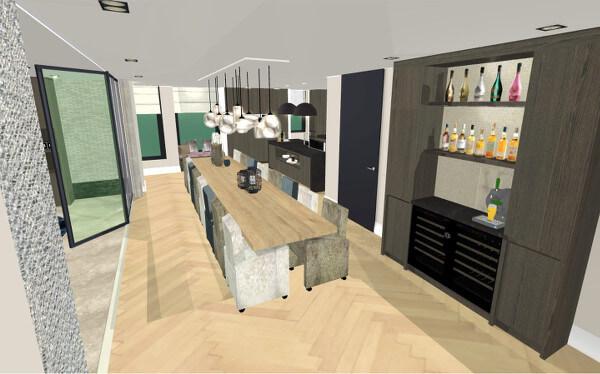 Interieurplan eetkamer villa Wierden