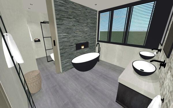 totaalontwerp villa Lonneker badkamer